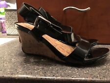 "Montego Bay Club Black Faux Paten Leather Wedge Sandals Size 8 1/2, 3"" Heel"