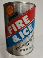 Vintage motor oil can SHELL FIRE and ICE All Season 1 quart clamshell logo NOS.