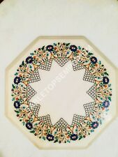 """18""""x18"""" White Marble Octagon Coffee Custom Table Top Marquetry Inlay Decor  E476"""