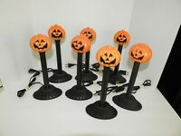 """7 Vintage Halloween Pumpkin Candolier Blow Mold Electric Candle Light Tested 10"""""""