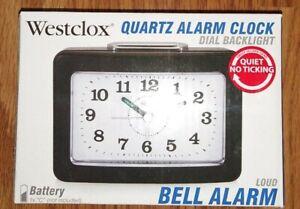 Westclox Analog Quartz Loud Bell Black Alarm Clock 47550 NEW NIB Free Shipping