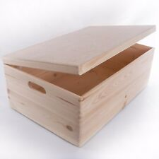 Extra Large Wooden Storage Box With Lid And Handles / Pinewood Toy Chest Trunk