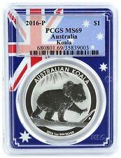 2016 P Australia 1oz Silver Koala Pcgs Ms69 - Flag Frame