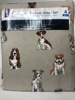 NEW Mainstays Best Friends Dog Print Cotton Flannel Sheets King Size 4 Piece Set