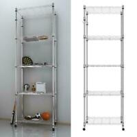 "Adjustable 5 Tier 14""x24 x72"" Wire Shelving Rack Steel Storage Shelf With Wheel"