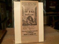 """DW GRIFFITH'S """"THE FALL OF BABYLON"""" CHARLIE CHAPLIN """"CARMAN"""" RARE HANDBILL -1919"""