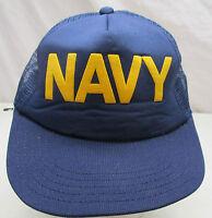 Vintage Navy Snapback Mesh Trucker Hat Cap Blue USA