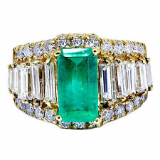 4.51 T.C.W Colombian Emerald & Diamond Cocktail Ring 14k Yellow Gold