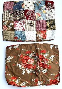2 Pottery Barn Quilted Patchwork/Floral STANDARD SHAMS Red Brown Roses