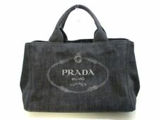 Authentic PRADA Canapa B2642B Black LightGray Denim Tote Bag w/Dust Bag
