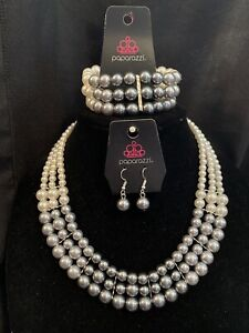 Paparazzi Ombre White/Silver Pearl Necklace & Stretch Bracelet