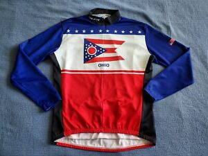 VOLER Cycling Jersey Jacket Men's L Large 3/4 Zip Made in USA Ohio state flag
