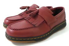 Dr. Martens Edison Cherry Red Leather Tassel Loafers Shoes 9 mens NWOB slip-on