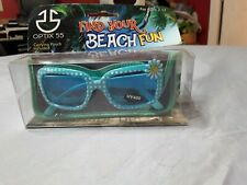 Girl's Blue Checked Sunglasses With Case Uv400 Ages 3-12 New