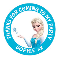 48 Personalised Party Bag Stickers Frozen Elsa Sweet Bag Seals 40mm Cone Labels
