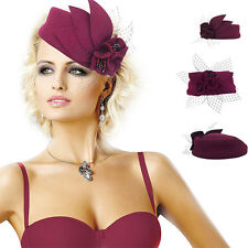Womens Stone Dress Fascinator Headband Felt pillbox Cocktail Hat Headpiece A131