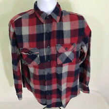Arizona mens shirt size medium button front long sleeve red blue plaid flannel