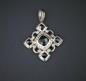 David Yurman Sterling Silver Cable Diamond Halo Onyx Renaissance Pendant PS1763