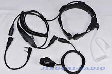 Heavy Duty Throat Mic Air Tube Headset MiNi DIN plug for Kenwood Puxing Baofeng