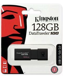 Kingston DataTraveler 100 G3 128GB USB 3.0 Flash Stick Pen Memory Drive - Black
