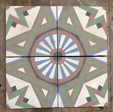 Vintage Cement Tile Set of 4 Geometric