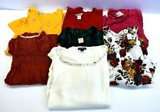 Lot Of 7 Womens Large Tops Long Sleeve Blouses Casual Rhinestones Jewels Prints