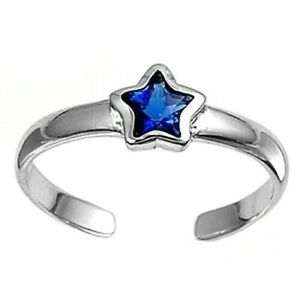 Star Toe Ring Genuine Sterling Silver 925 Blue Sapphire Rhodium Plate Height 5mm