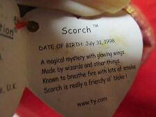 TY BEANIE BABY babies Scorch The Dragon Hang Tag Spelling Error Gosport