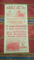 1984 Cartel Plaza de Toros de Puebla del Rio 5 Novillos Manolito Corona Bejarano