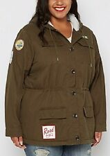 NEW WOMENS PLUS SIZE 3X DARK OLIVE GREEN MILITARY PATCH FUR ANORAK COAT JACKET