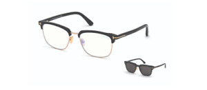 Tom Ford FT 5683-B 001 Shiny Black/Smoke Clip Ons Men's Eyeglasses