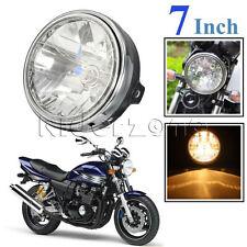 "7 INCH 7"" Motorcycle 12V Round Headlight Halogen H4 Bulb Head Lamp Side Mount"