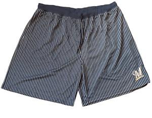 Majestic Men's Size 6XL Milwaukee Brewers MLB Navy Pin Stripe Baseball Shorts