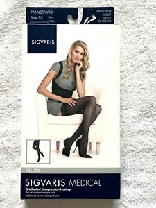 NEW IN BOX SIGVARIS 711NSSW99 15-20 mmHg Womens Allure Thigh High-Sm-Short-Black