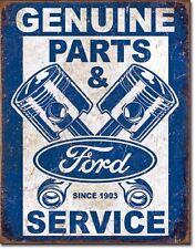 Ford Genuine Used Parts Piston Logo Car Dealer Retro Weathered Metal Tin Sign