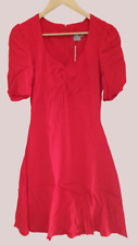 ASOS 3/4 Sleeve Tea Dress With Sweetheart Neckline Red UK 8 LN005 KK 03