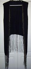 Sheri Bodell Black Knit Sweater Vest Chain & Leather Fringe Boho Rocker Sz Small