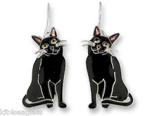 Zarah Zarlite BLACK KITTY Cat EARRINGS Sterling Silver Plate Enamel - Gift Boxed