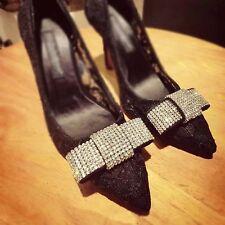 2 pcs a pair silver bow Bridal high heel Repair Rhinestone Shoe Charm Clips SA9