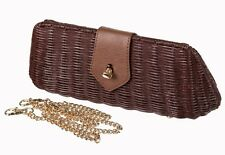 Banned Lizzie Clutch Bag Wicker Brown Vintage Retro 1950's Handbag Bag