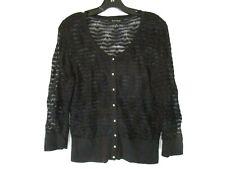 WHBM Cardigan Sweater Sz M Black Textured 3/4 Sleeve Button Womens CBA22