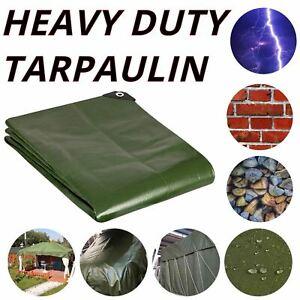 HEAVY DUTY TARPAULIN LARGE GROUND SHEET WATERPROOF GREEN TARP COVER CAMPING DIY