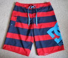 "DC Shoes Mens Red Blue Striped Boardshorts Swim Shorts 32"""