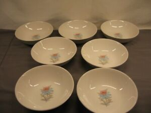 "Lot of 7 MidCentury Steubenville Pottery ""Fairlane"" Cereal Bowls 6"" USA VGC"
