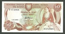 Cyprus 50 Fifty Cents Pick 45A Jan 12 1984 Central Bank Of Cyprus Nenhnta Cent