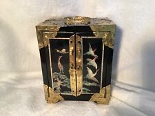 """Antique / Vintage Chinese Lacquer Jewelry Box w Lock  Abalone Inlay 7""""Tall"""