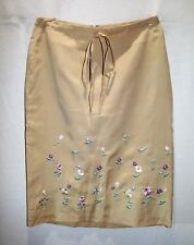 CONCEPT Brand Woman's Beige Embroidered A Line Skirt Size XS LIKE NEW #AN02