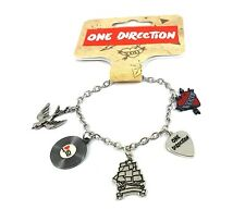Licensed One Direction Silver Tone Charm Bracelet