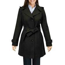 London Fog womens Charcoal Gray Peacoat coat jacket Wool Blend belt hooded XL