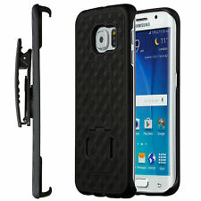 Samsung Galaxy S6 Edge Case, Shell Holster Combo Case w/ Kick-Stand & Belt Clip